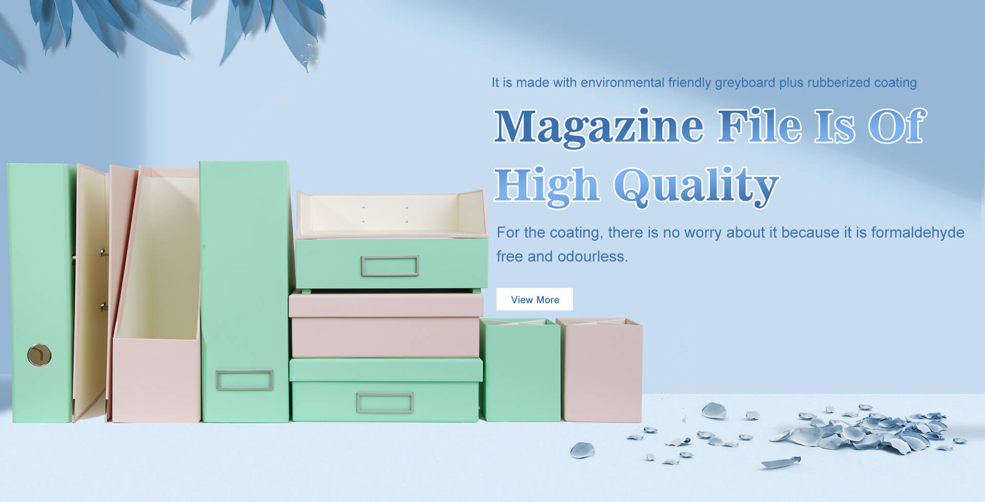 Magazine File with environmentally friendly materials and rubberized lamination. Zero Formaldehyde, No Smell.