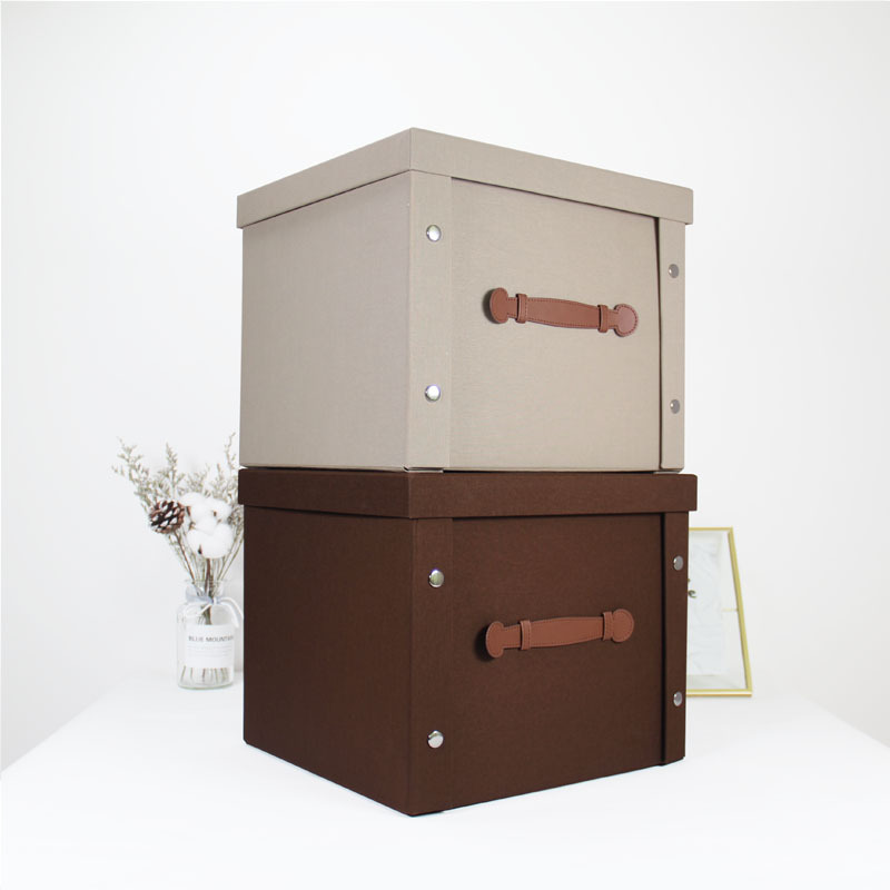 Foldable book covering material large storage box